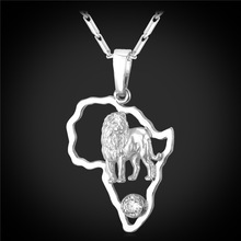 U7 African Map Lion Necklaces & Pendants Yellow Gold/Platinum Plated Wholesale Charming Africa Jewelry Necklace Women P194