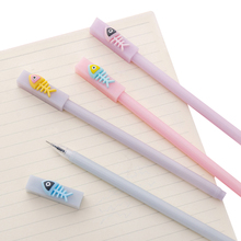 4pcs/lot Cute Pens Cartoon Fish Bone Modeling Student With Simple 0.5mm Gel Pen School Office Supply Party Favor Kawaii Gift