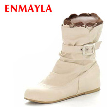 Airfour New Boots 2016 Arrivals Soft Leather Ankle Buckle Women Flats Winter Shoes Ladies  Autumn