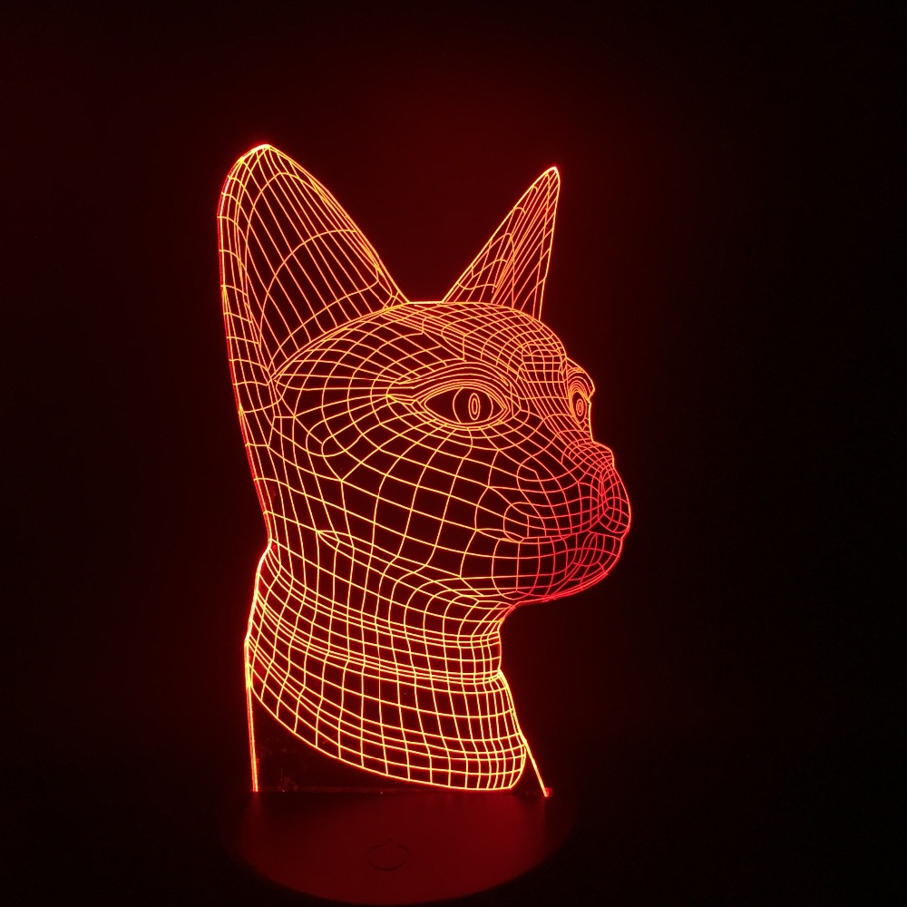 Beckoning Cat Table TOP Lamp Household Colors Changing 3D LED Night Light Bedroom Party Light Touch Battery Livingroom Decor