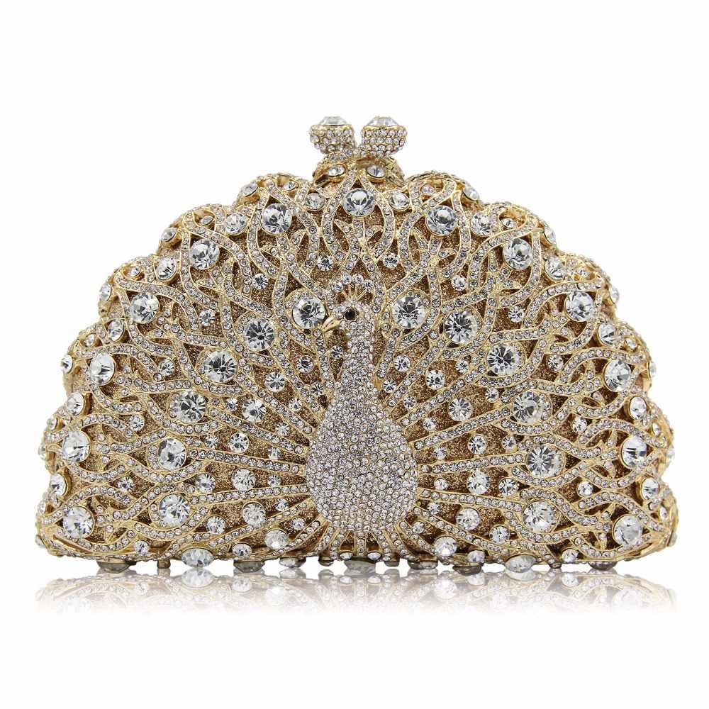 Multi color ~Peacock~Women Evening Bridal crystal clutch purse handmade handbag