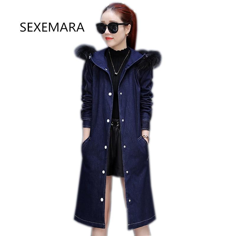 купить Women's winter denim cotton jacket 2017 New Long section hooded fur collar Overcoat warm Parka denim Outerwear Female YM063 дешево