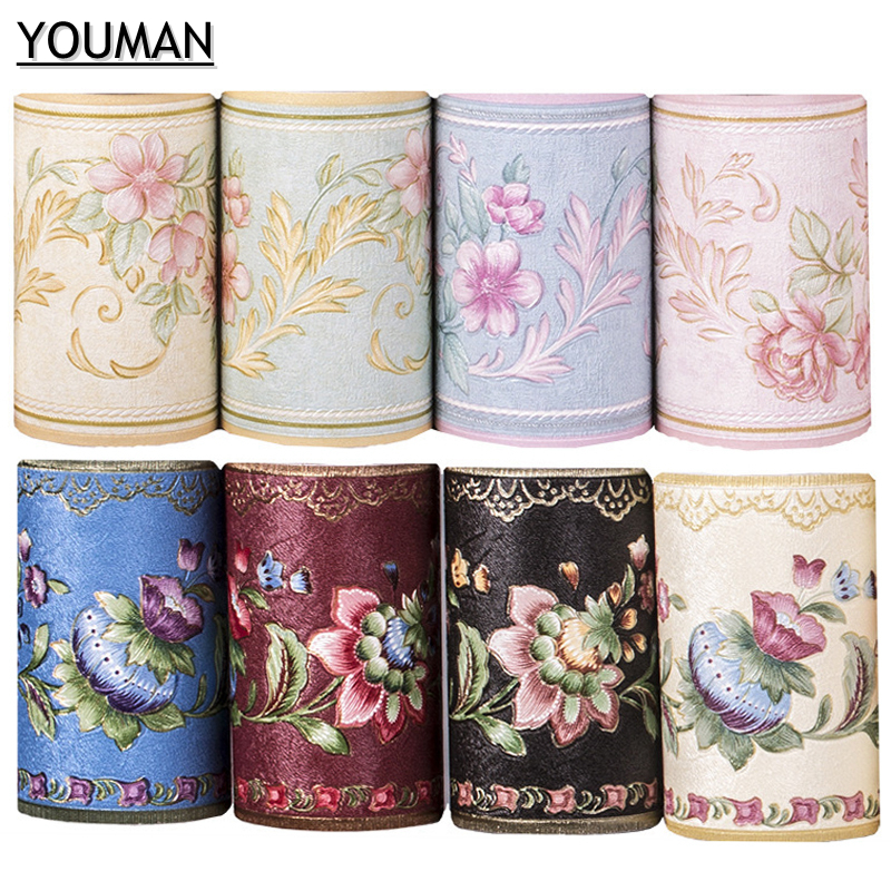 YOUMAN Waist Line Wall Sticker Kitchen Waistline Bathroom Toilet Waterproof Self Adhesive PVC Wallpaper Border Floral Wall Paper