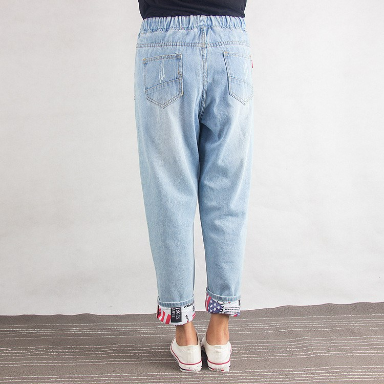 2019 Summer Women Mid Waist Harem Pants Loose Plus Size Straight Long Jeans Pocket Hole Lace Up Denim Pants in Jeans from Women 39 s Clothing