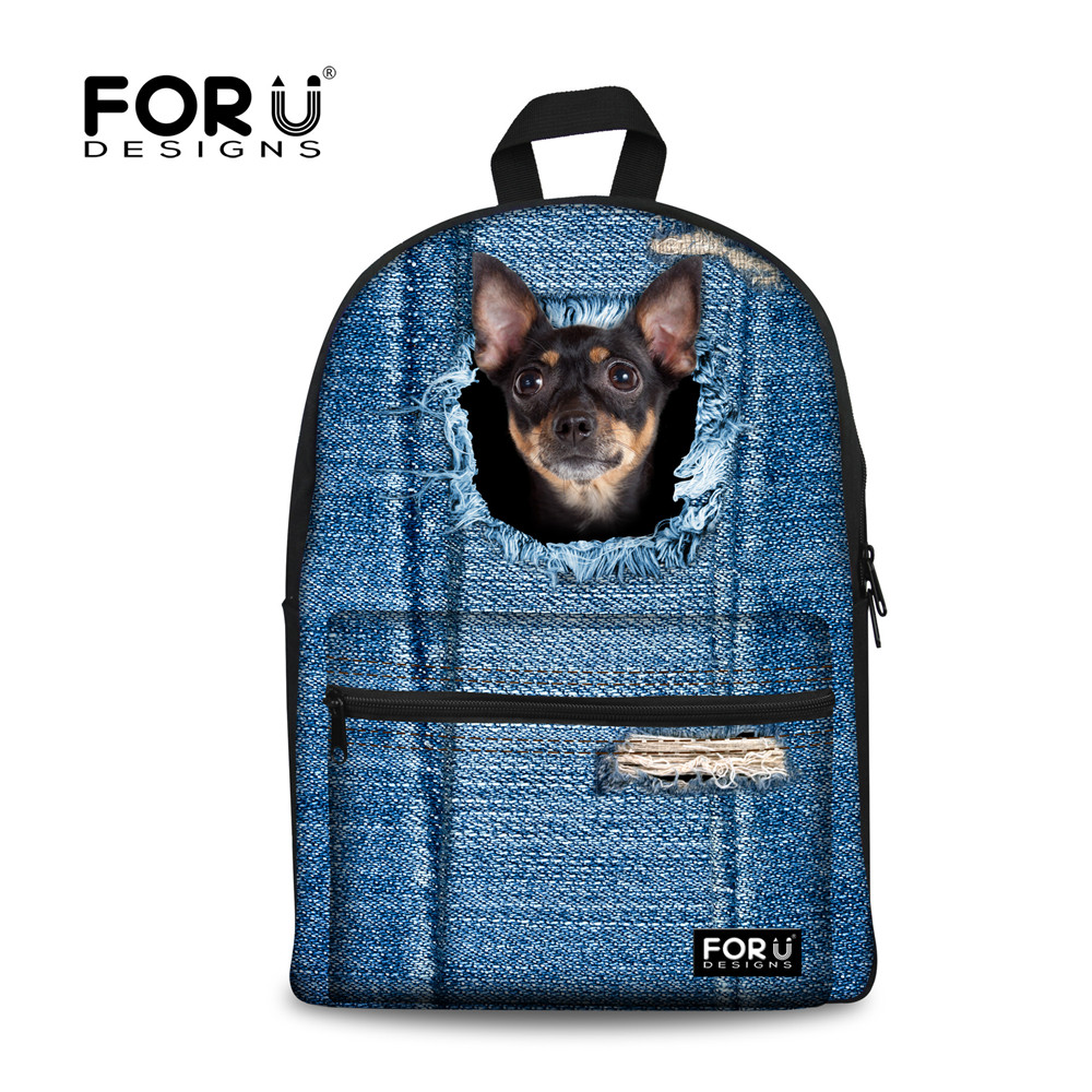 FORUDESIGNS Children School Bag For Student Boys Cute 3D Dog Cat Printing Kids School Bags Canvas Book Bags Mochilas Infantils minions ninja mini messenger bag children cute animal dog cat horse printing school bags boys kids book bag for snack best gift