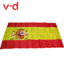 free shipping xvggdg 90x150cm spain flag 3x5 Feet Super Poly football FLAG Indoor Outdoor Polyester Flag
