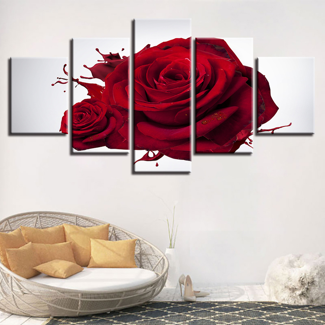 HD Printed Modern Wall Art Poster Modular 5 Panel Red Rose Flowers  Framework Pictures Home Decor