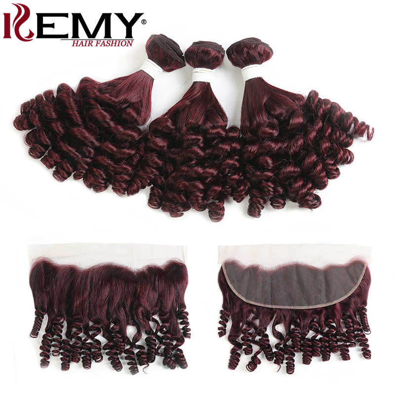 Funmi Curly Human Hair Bundles With Frontal 13X4 KEMY HAIR 99J Red Color Frontal With Bundles