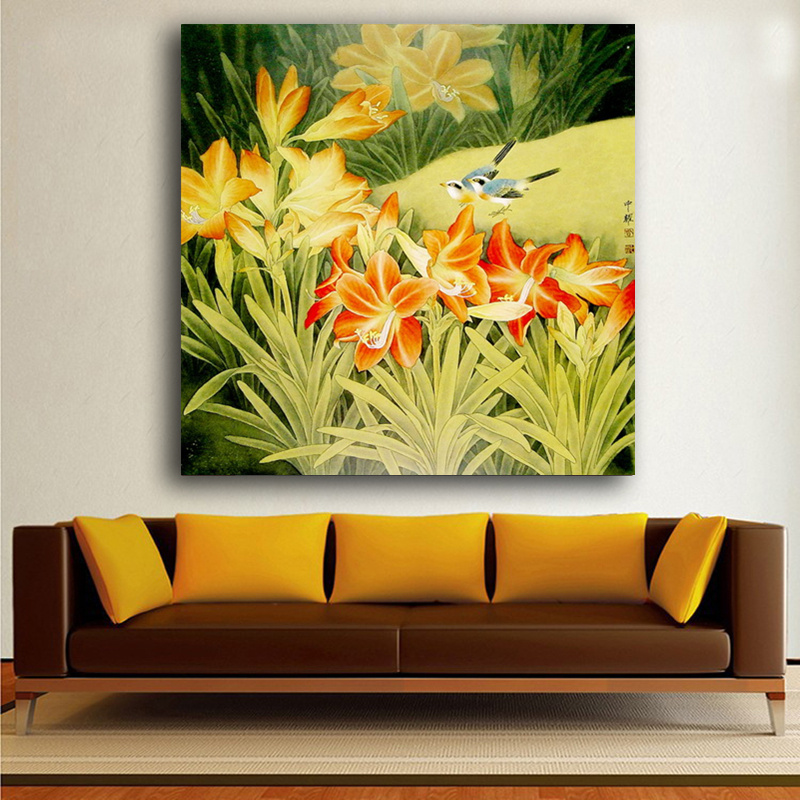 Canvas Printings Chinese Watercolor Painting Meticulous flowers and ...