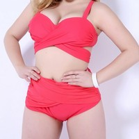 Western Style Plus Size Swimwear Push Up Beach Wear Bathing XL 5XL High Waist Bikinis Sets
