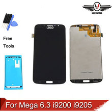 White Black Grey For Samsung Galaxy Mega 6.3 i9200 i9205 LCD Display Touch Screen with Digitizer Assembly + Adhesive Tape + Tool