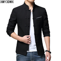 2018 New Spring Chinese Style Suits jacket Men Stand Collar Black Coat 4XL Male Slim School Wear Solid color Suit Blazer