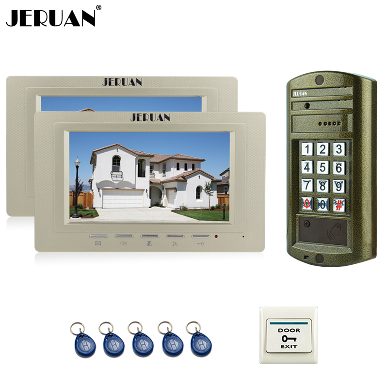 JERUAN 7 inch Color Video Door Phone Speaker Intercom System Kit + NEW Metal Waterproof Access password keypad HD Mini Camera jeruan home 7 inch video door phone intercom system kit new metal waterproof access password keypad hd mini camera 2 monitor