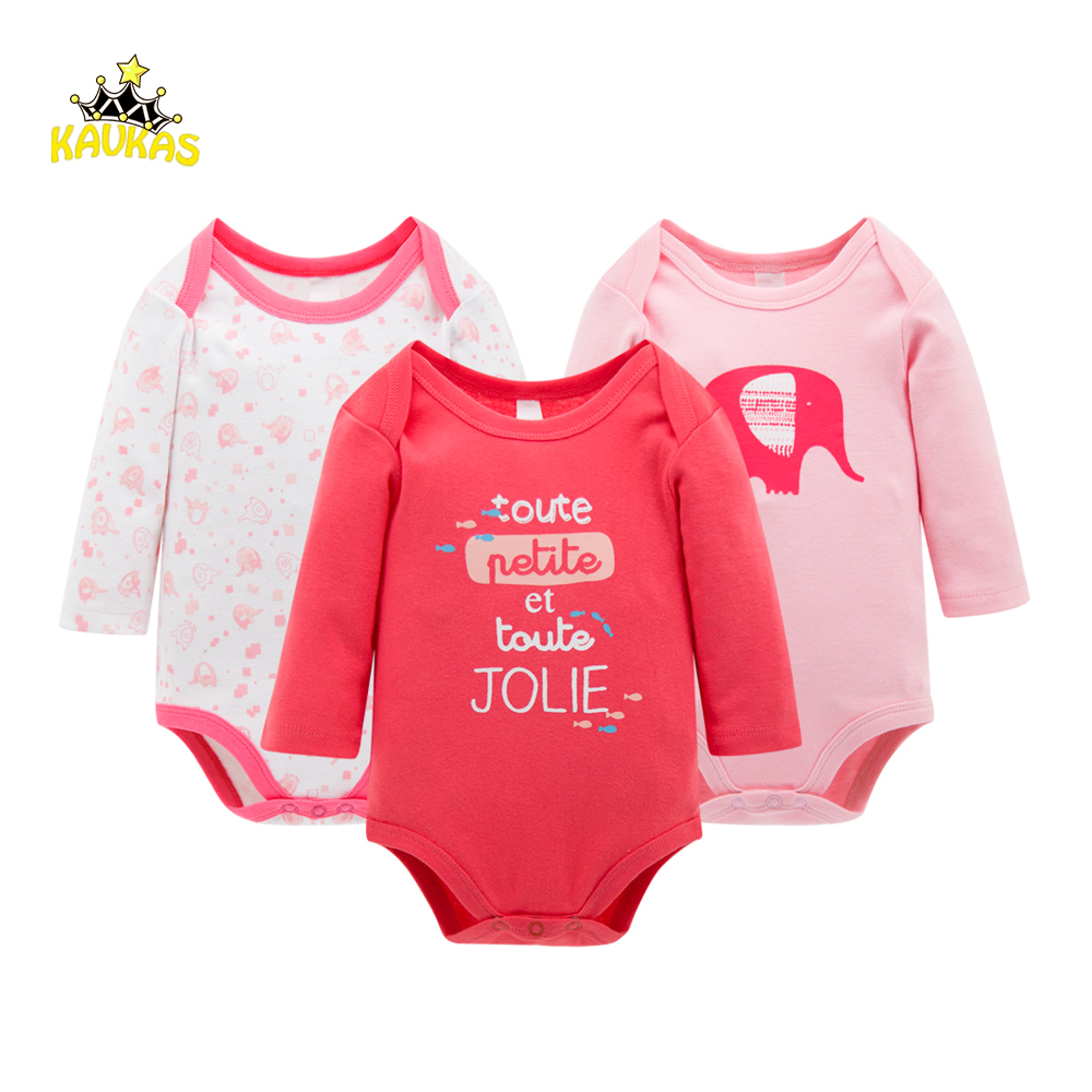 KAVKAS 3pcs/Set Thick Cotton Baby Rompers Winter Long Sleeve Baby Girl Infant Jumpsuit Newborn Baby Girls Clothes Baby Body Suit