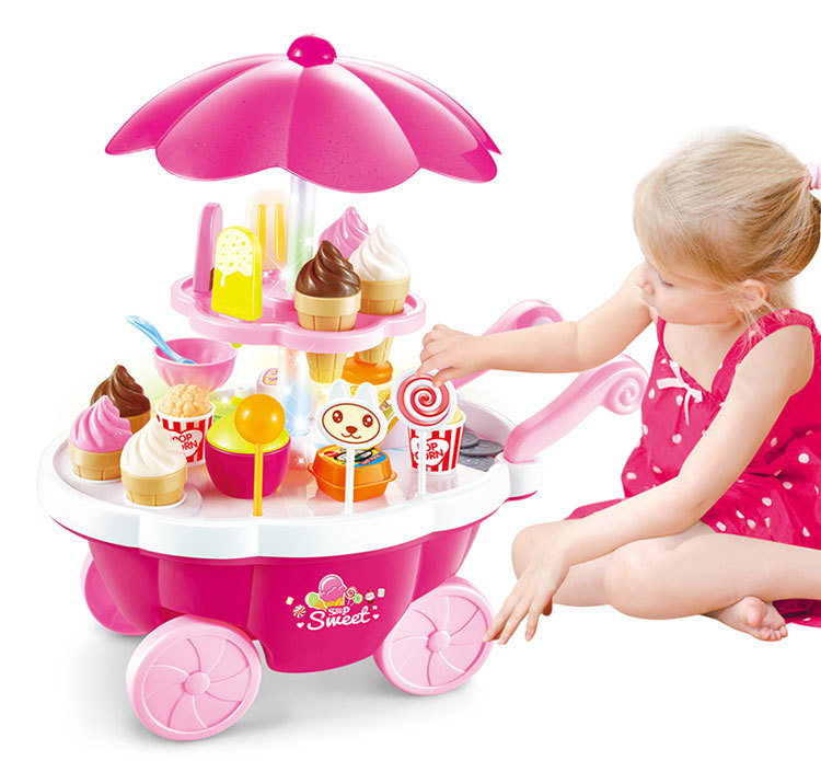 Children 39pcs Ice Cream Snacks Coins Umbrella Sweet Cart With Light Sound Large Simulation Plastic Pretend Play Educational Toy