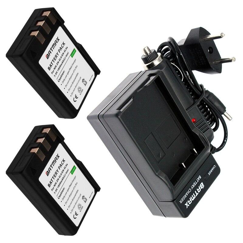 2 Pcs 1800 mAh EN-EL9 EN EL9 EN-EL9a EN EL9a EL9a Caméra Li-ion Batterie et Chargeur Kit pour Nikon EN-EL9a D40 D60 D40X D5000 D3000