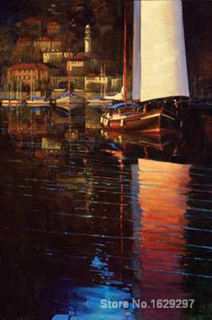 Canvas Paintings for living room Lake Como Sunset Sail Brent Lynch High quality Hand paintedCanvas Paintings for living room Lake Como Sunset Sail Brent Lynch High quality Hand painted