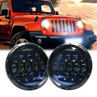 2 шт. 130 Вт круглый светодиодный фары 7 дюймов Высокий Низкий Луч Белый DRL Янтарный указатель поворота светодиодный налобный фонарь для Jeep
