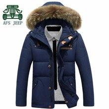 Afs джип оригинальный бренд высокое качество вниз и парки, Большой меховой воротник толстый зима высокой жары тепло с кнопки куртка молния Fly