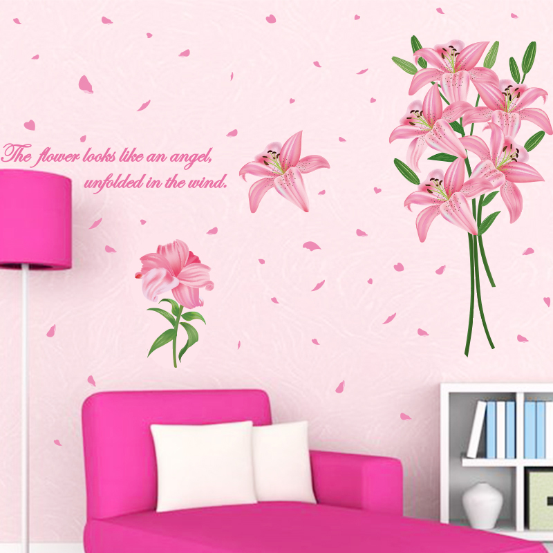 SHIJUEHEZI Pink Color Lily Flowers Wall Sticker PVC Material Plant ...