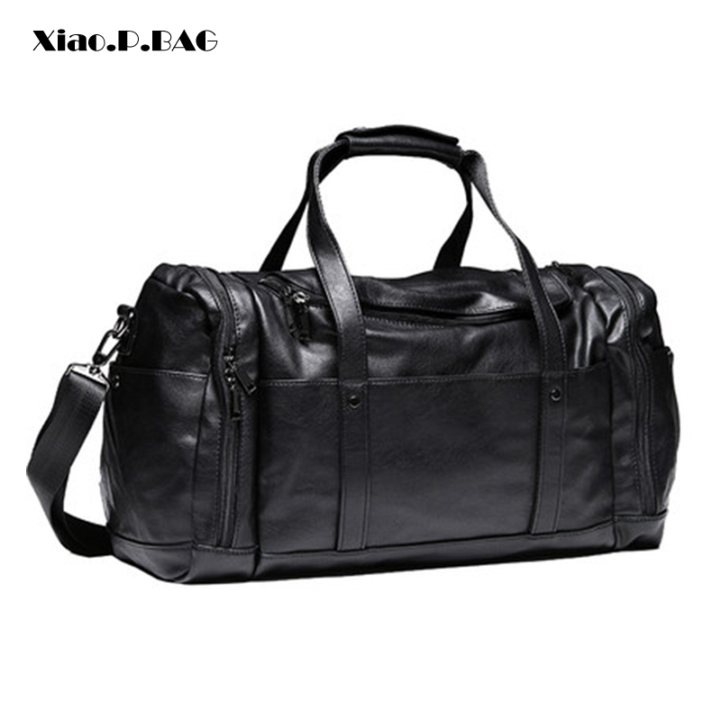 Men Finely Processed Large Capacity Black PU Leather Handbags Luggage Bags Travel Duffle Bags Gym Bags