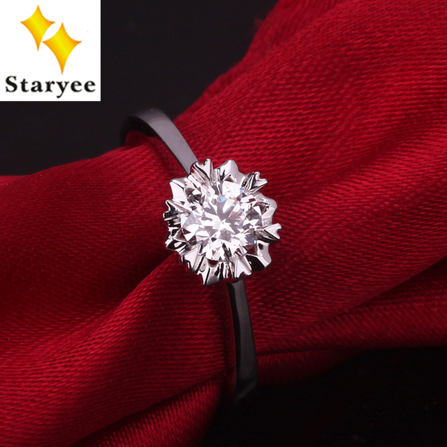 STARYEE Luxury Pure 14K White Gold One Carat Forever One Moissanite Gems Stone Solitaire Heart Style Engagement Rings For Women