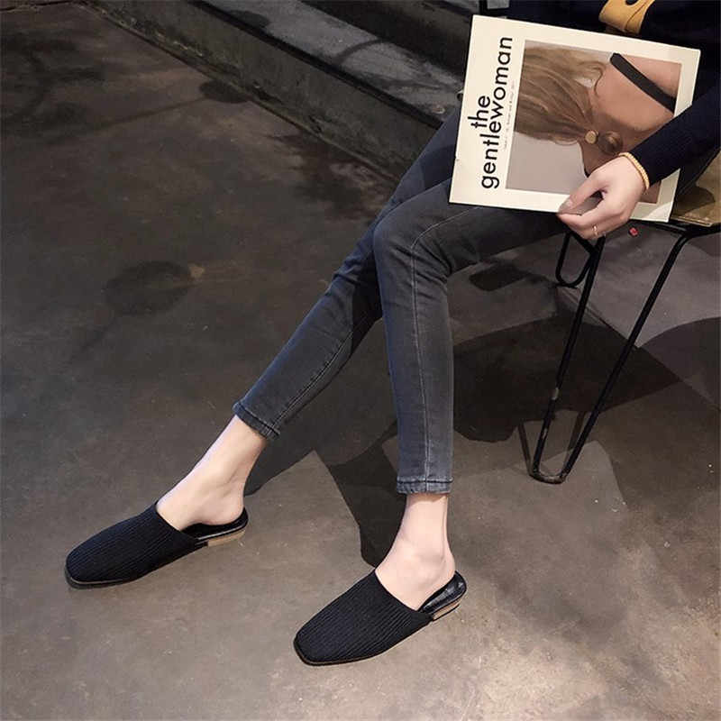2019 Fashion Women Summer Slippers Solid Stretch Fabric Flip Flops Square Toe Slip On Low Heels Ladies Casual Flat Shoes XWT1703