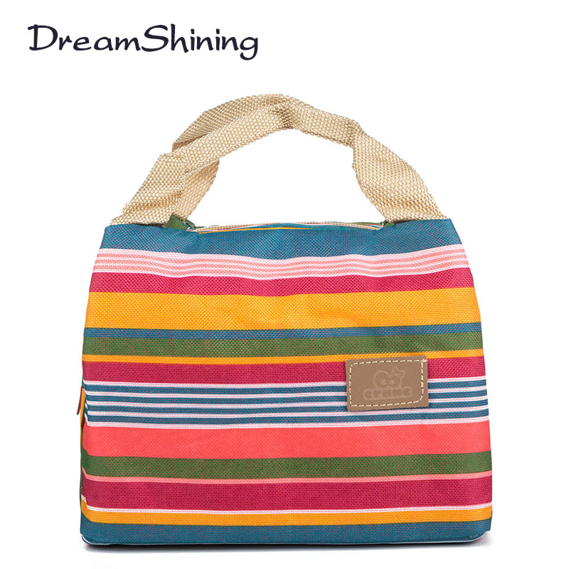 Lunch Bags: Insulated Neoprene Lunch Bag Canvas Stripe Thermal Bags Kids Baby Tote Picnic Lunchbox lunch package convenient portable