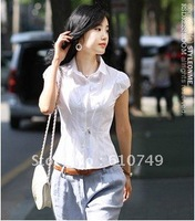 Free shipping New arrival Summer Korean cotton Puff - waist short-sleeved shirt