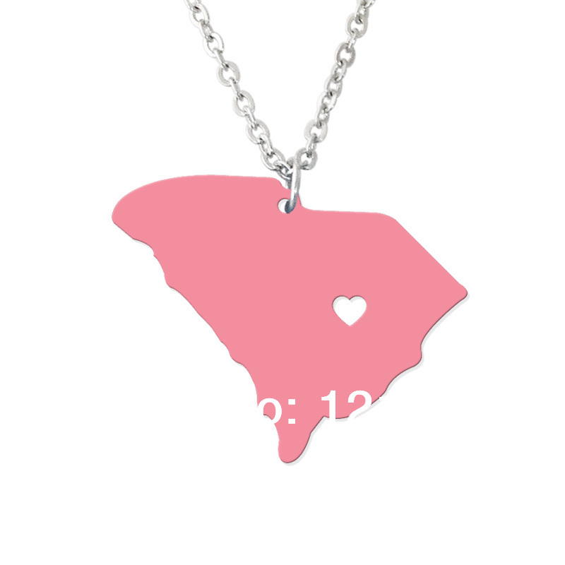 South carolina State Necklace Map Pendant - Custom map jewelry-Personalized map charm--Any map you want