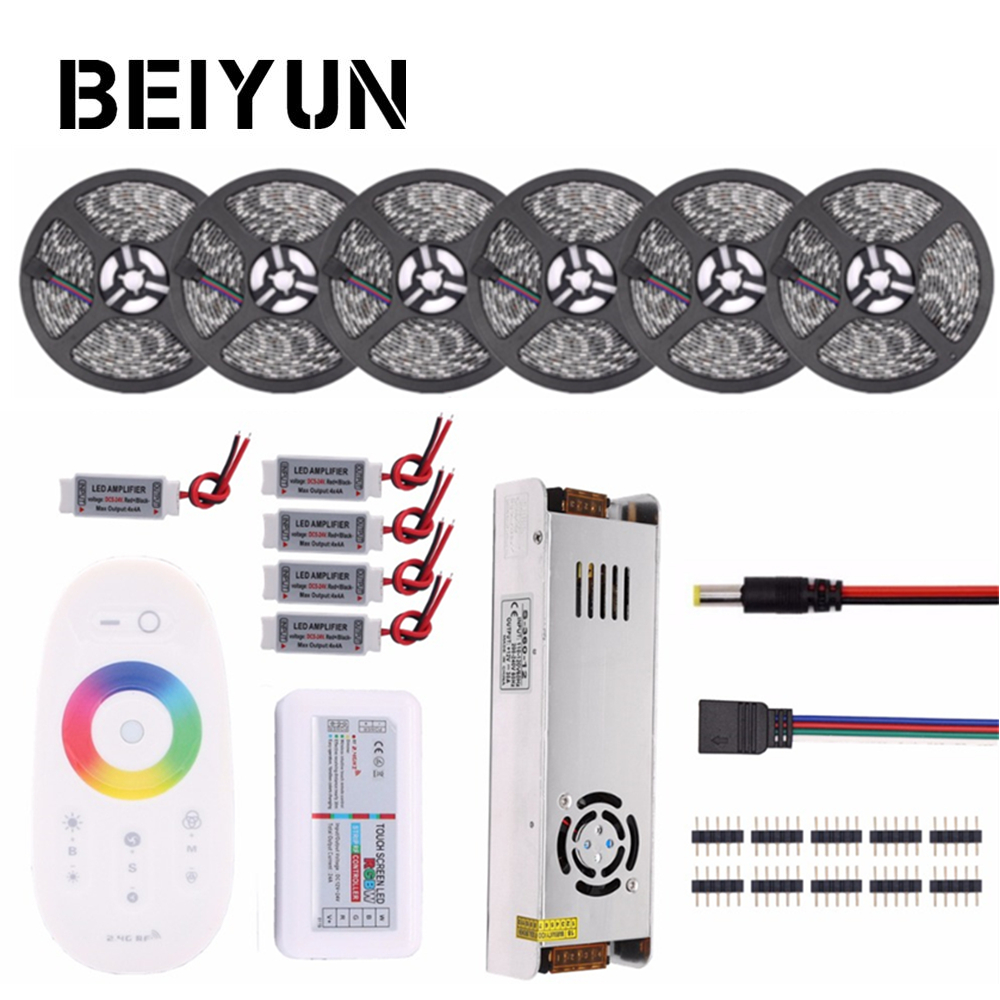RGB LED Strip Waterproof 5050 5M 10M 15M 20M 30M DC 12V RGBWW RGBW LED Light Flexible Strips add Controller Power Amplifier dc 12v rgb rgbw led strip 5050 ip65 waterproof flexible led light 2 4g rf remote controller power adapter kit 20m 15m 10m 5m