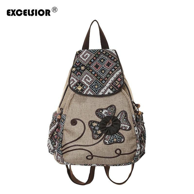 EXCELSIOR Hot Sale High Quality Canvas Women's Backpack National Vintage Schools Bags Flower Tassel Backpack Female G2088