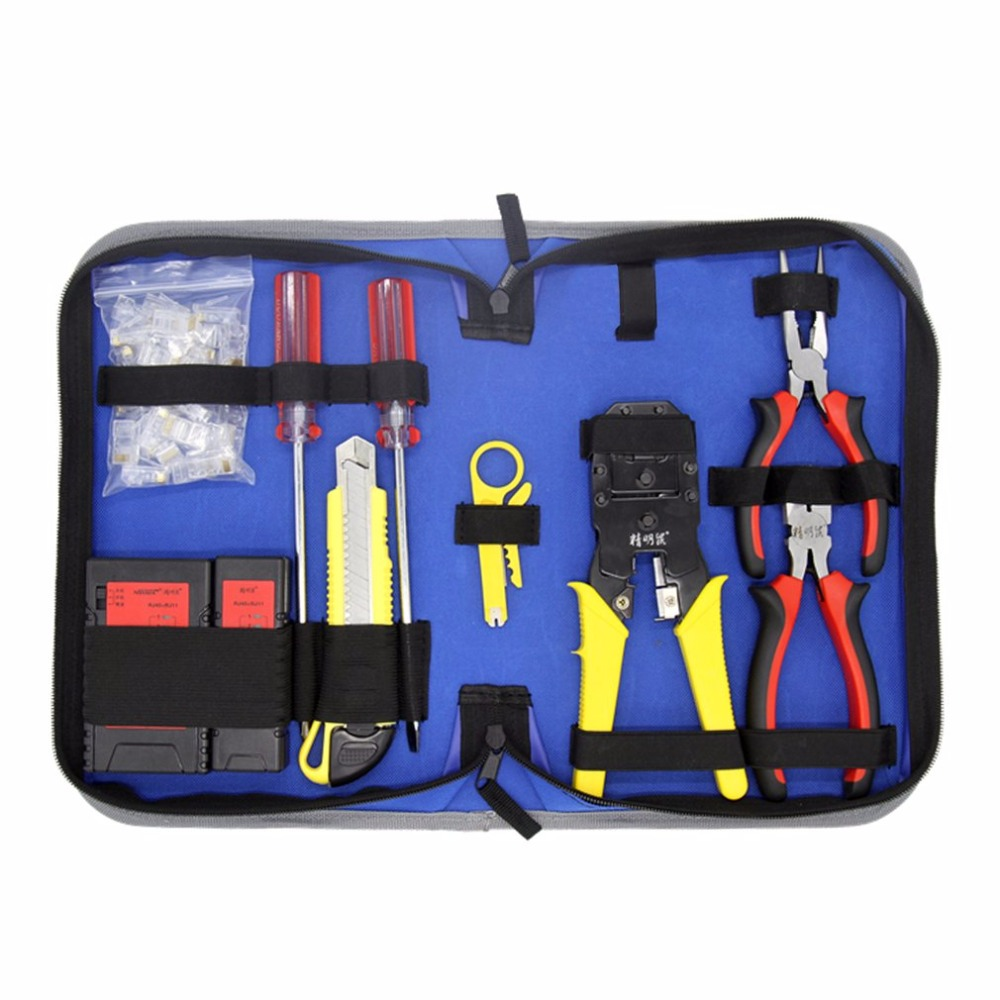 цена на NOYAFA Network Maintenance Repair Tool Kit Lan Cable Tester Wire Stripper Pliers Utility Knife Screwdriver Crimping Tool Set