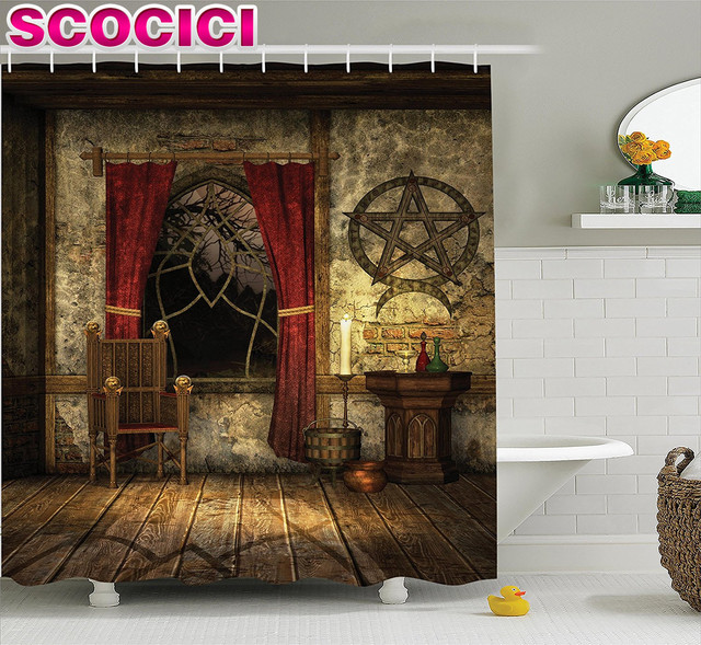 Gothic House Decor Shower Curtain Set Pentagram Symbol In Candlelight Red Curtains Mystical Medieval Chamber Spiritual Bathro
