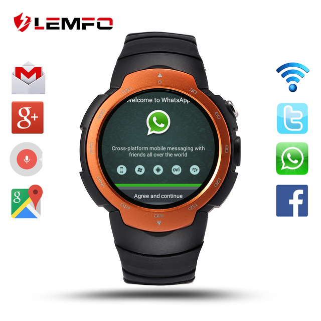 US $82 49 |LEMFO LEM3 Android 5 1 OS Smart Watch Support Nano SIM GPS WIFI  Heart rate Google Play Store Smartwatch App download -in Smart Watches from