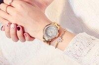 2018 Женская мода часы дамы высокое качество австрийских алмаз горный хрусталь кварцевые часы, розовое золото женские платье часы