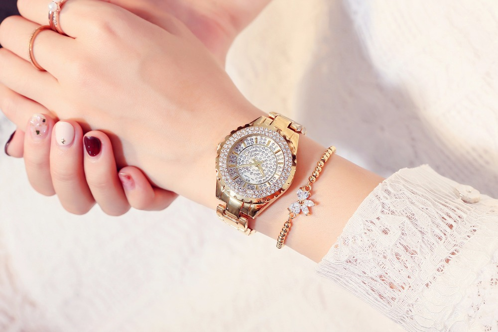 2018 Fashion Women Watches Ladies High Quality Austrian Diamond Rhinestone Quartz Watch, Rose Gold Woman Lady Dress Watch Clock 2016 women diamond watches steel band vintage bracelet watch high quality ladies quartz watch