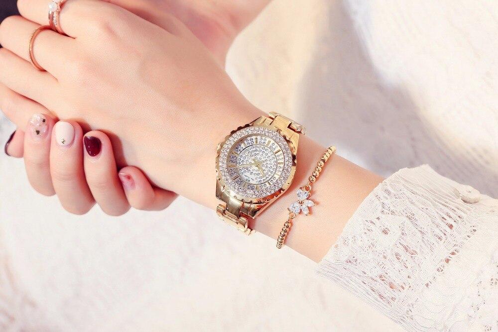 2019 mode femmes montres dames de haute qualité diamant autrichien strass montre à Quartz, or Rose femme dame robe montre horloge