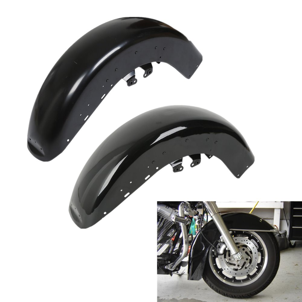 Gloss Black Wheel Wrap Front Fender For Harley Electra Glide Ultra Limited Classic Tri Glide FLHTCUTG 14 18 15 16 17 in Covers Ornamental Mouldings from Automobiles Motorcycles