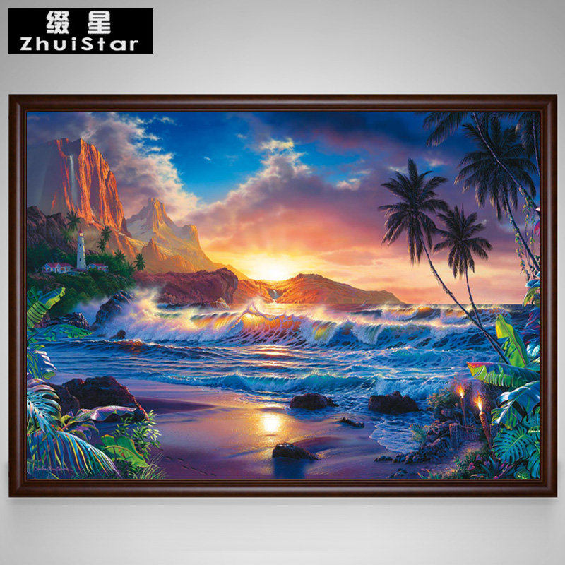 5d Diy Diamond Painting Beautiful Seaside Sunset Scenic