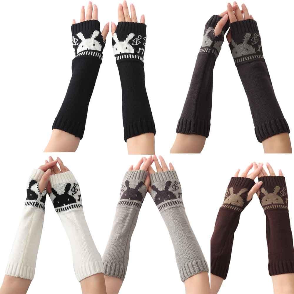 Women Crochet Arm Warmer Long Fingerless Elbow Gloves Knit Mitten ...