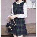Moda de otoño nuevas Mujeres de Corea del Viento Colegio de manga larga a cuadros cuello de costura Delgado vestido de lana para niñas