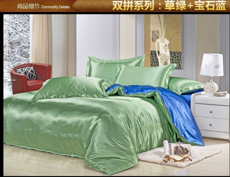 Green Blue Silk Satin Bedding Set Satin Sheets Queen Full Quilt
