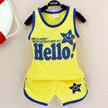 Olá meninos ou meninas crianças terno do bebê roupas de algodão crianças roupas de verão definir colete Tong Kit 0-2 ano roupas de bebê