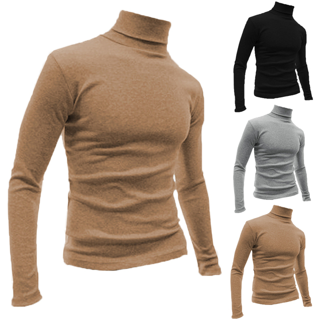 49551da4170 Warm Long Sleeve Men T-shirts Turtleneck High Neck Tee Slim Fit Muscle  Bodybuilding Casual TShirt Men Basic Clothing Winter