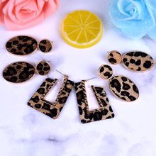 Fashion Ellipse Leopard Earrings Women Cute Colorful Fur Gold Color Pendant Dangle Earrings For Women leather earrings Jewelry