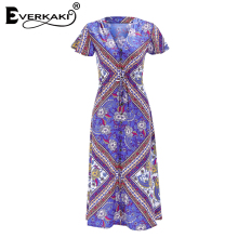 Everkaki Women Boho Floral Print Waist Tied Dress Vestidos V Neck Adjustable Waist Belt Tied Lady Dresses Femme 2018 Summer New