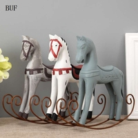 BUF Modern Europe Style Trojan Horse Statue Wedding Decor Wood Horse Retro Home Decoration Accessories Rocking