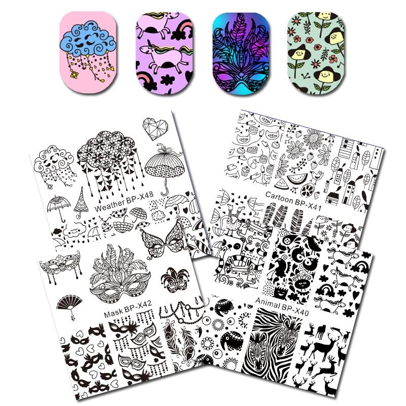 Born Pretty Cute Rain Cloud Pattern Nail Printing Stencil Umbrella Nail Stamping Plate For Diy Manicure Art Decoration Pure White And Translucent Nail Art Templates Nails Art & Tools