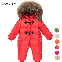 kids snowsuits warm children winter Jumpsuit duck down baby Rompers fur infant girls boys Overalls hooded baby clothes jacket